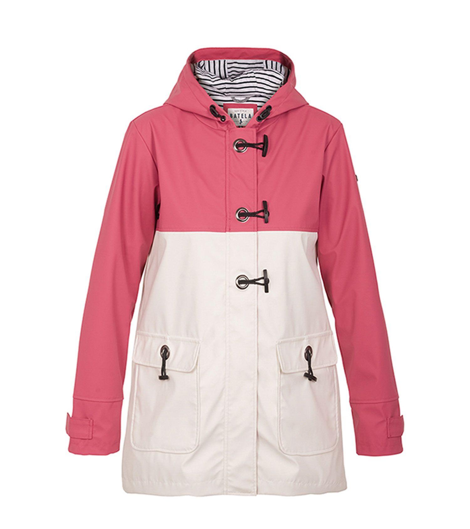 impermeable nautico mujer batela blanco y rosa antiguo 3047 1