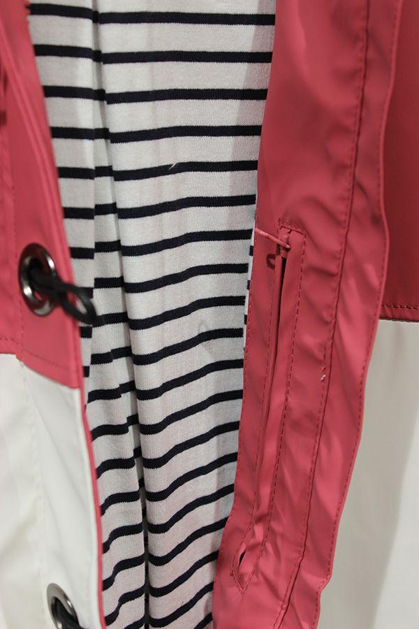 impermeable nautico mujer batela blanco y rosa antiguo 3047 bolsillo interior