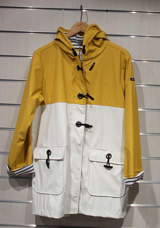 impermeable nautico mujer batela blanco y amarilo 3047