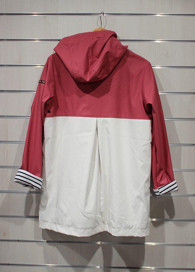 impermeable nautico mujer batela blanco y rosa antiguo 3047 espalda