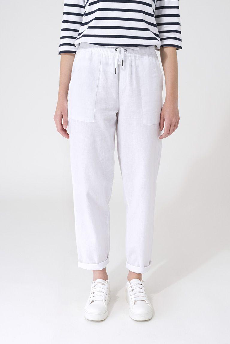 Pantalón largo lino color blanco Batela