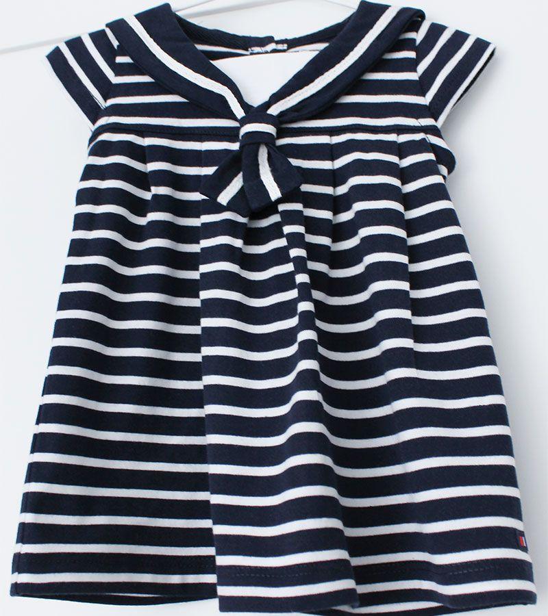 vestido bebe batela 2318 marino blanco 2