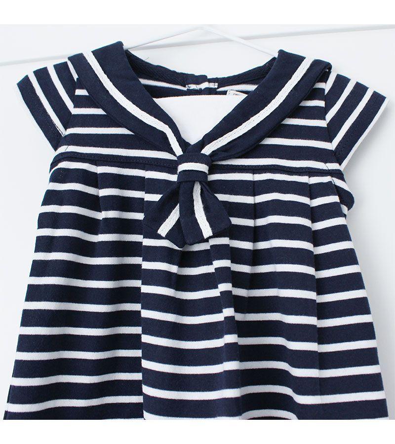 vestido bebe batela 2318 marino blanco 3