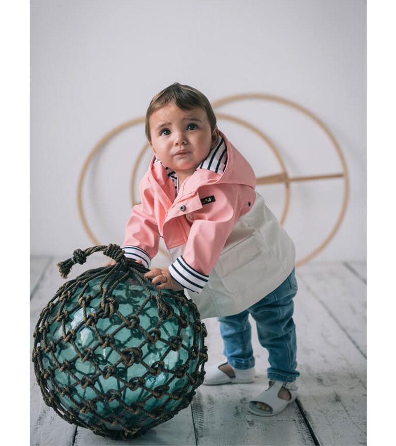 impermeable bebe batela 3119 rosa blanco 3