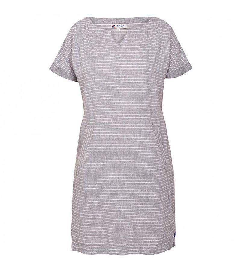 vestido manga corta 2022 batela gris blanco 1