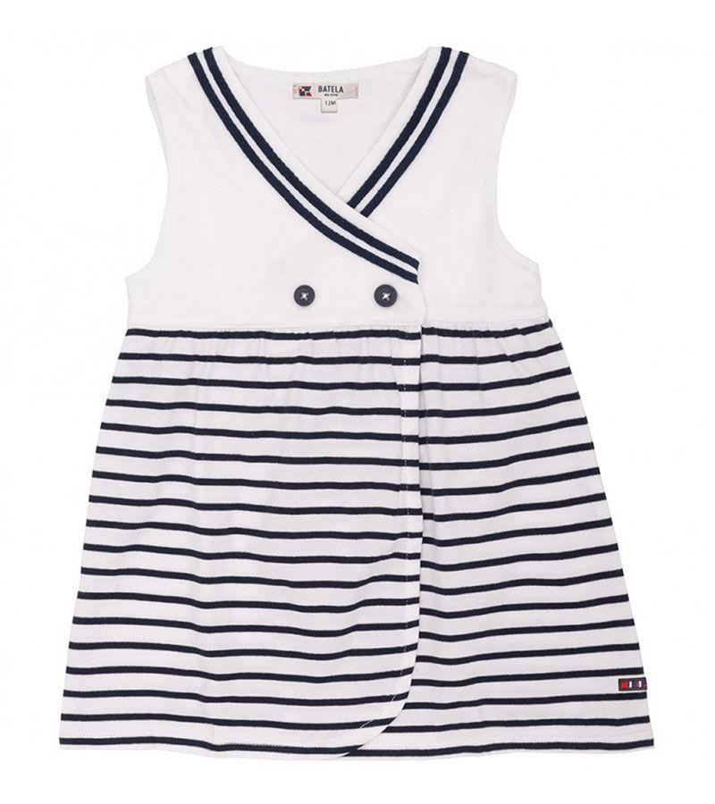 vestido bebe batela 2320 blanco marino 1