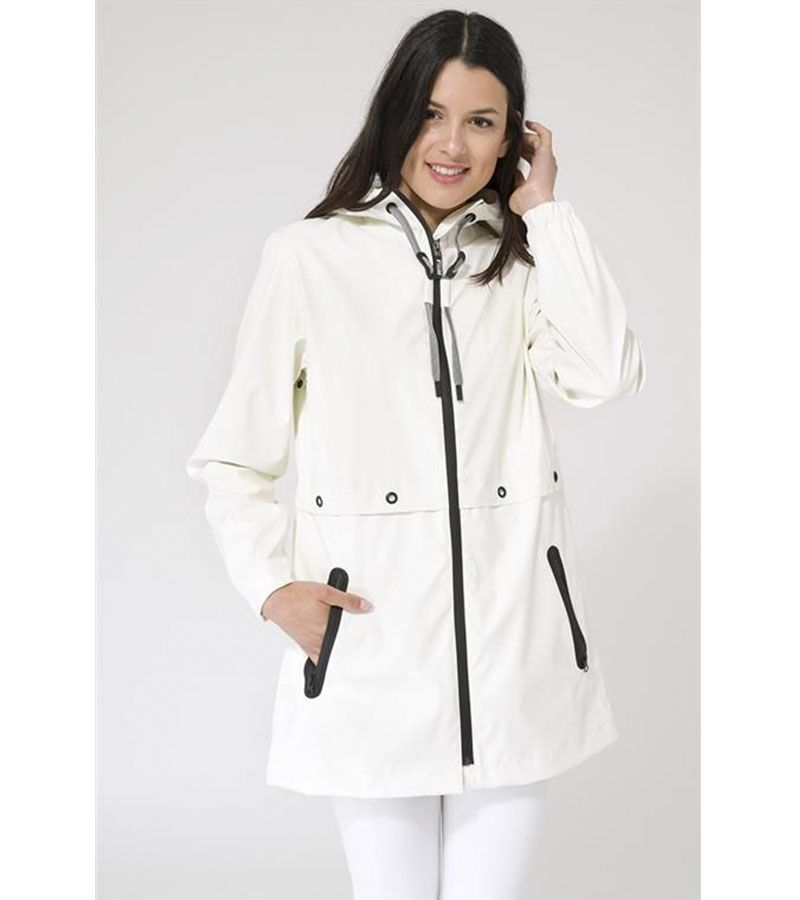 impermeable blanco mujer