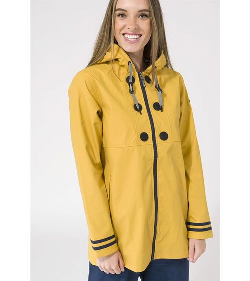 impermeable amarillo rayas mujer