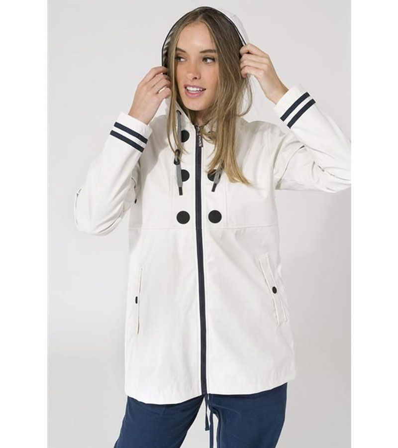 impermeable blanco tayas mujer