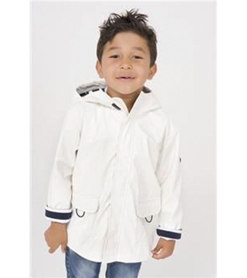 impermeable blanco nino