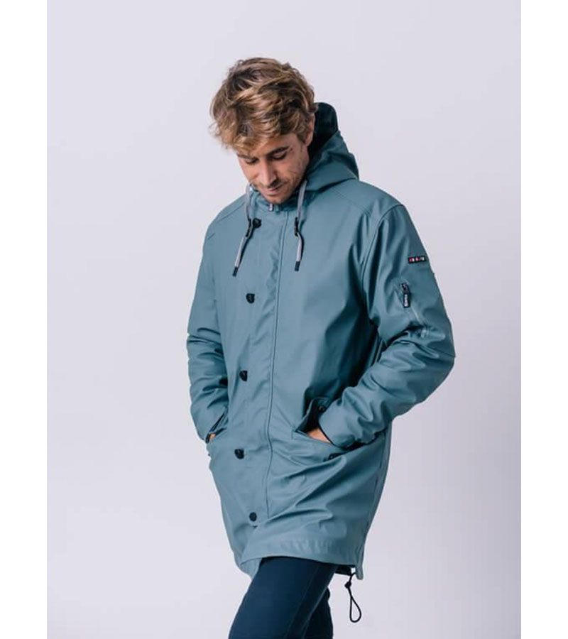 impermeable grey blue hombre